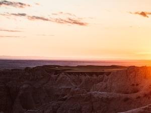 badlands national park during sunset
