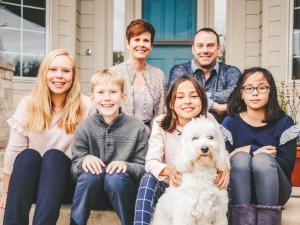 Family of Five with dog