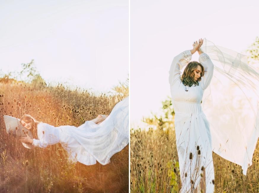 portrait of model in field with white dress