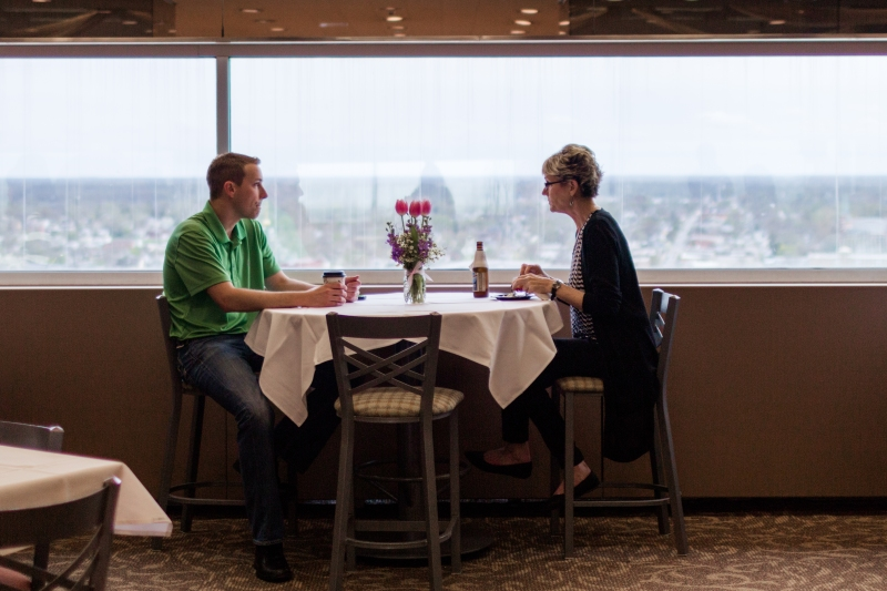 Couple sitting in City View Cafe