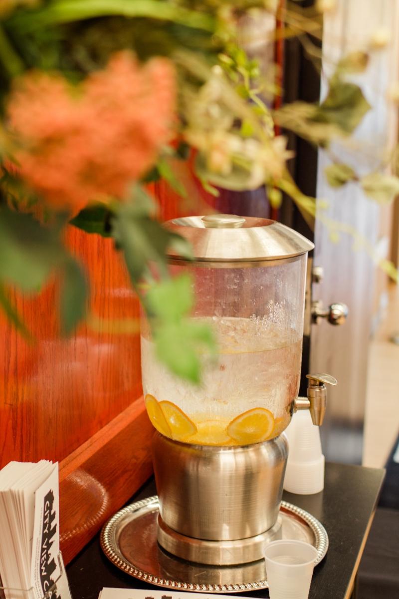 Lemon water at city view cafe