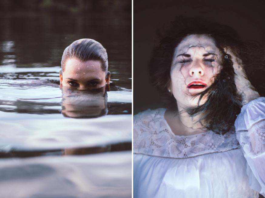 portrait of girl under water