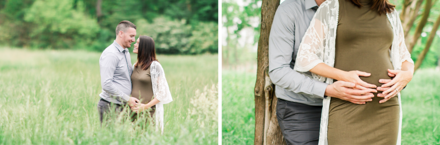 Portrait of expecting couple together in tree